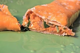 sweet potato, spinach, and goat cheese burritos