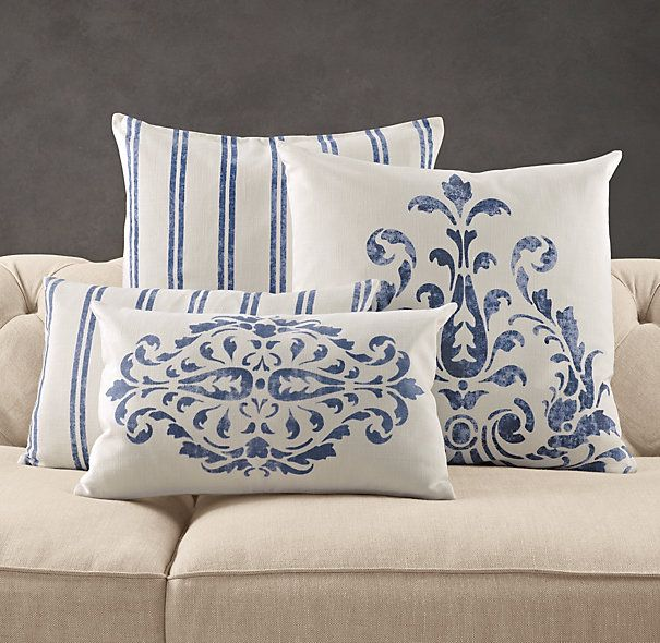 Love these blue pillows.  Would look nice with that vintage blue strip duvet I posted from Pottery Barn.