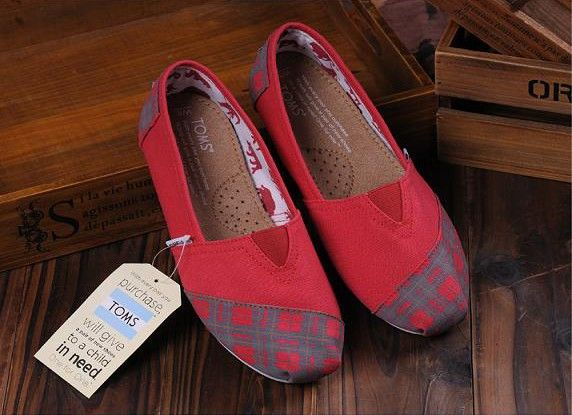 Plaid Toe Toms Shoes Women Red for Sale : Toms Outlet Shoes Online
