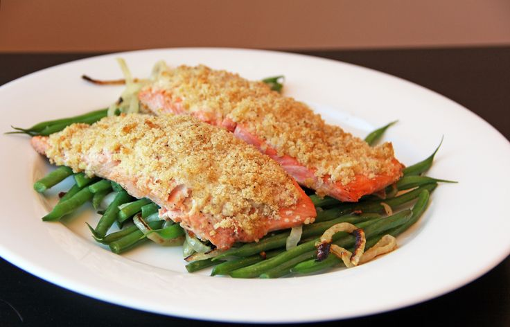 Honey Mustard Salmon with Green Beans and Onions