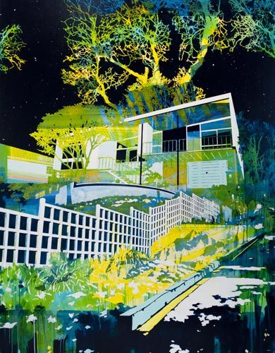 Paul Davies - Stars over nest and fence - acrylic on linen (198 x 150cm) (analogous)