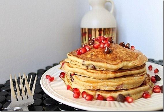 Pomegranate chocolate chip pancakes | Recipe
