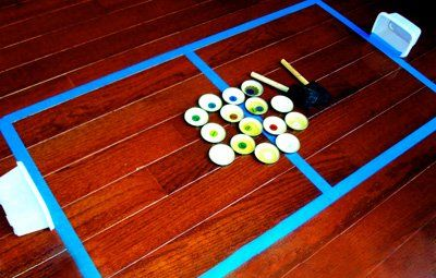 Homemade toddler hockey game by Toddler Approved!