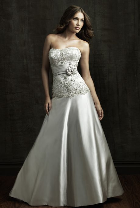 Allure bridals satin a line gown with a strapless scooped neckline