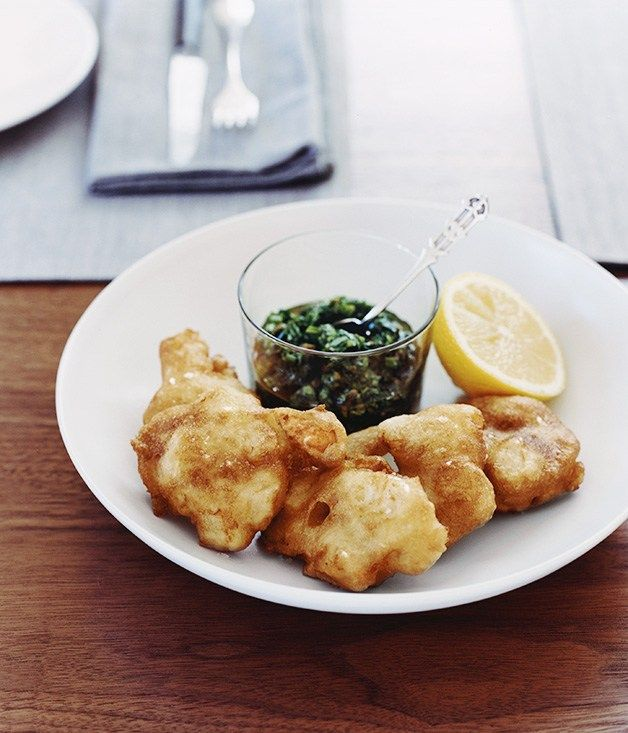 Scallop fritters with rocket salsa verde - Gourmet Traveller