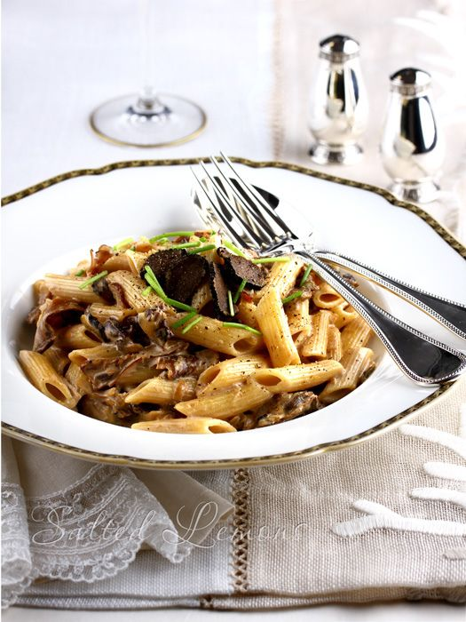 Parmesan, Onions And Mushroom Pasta With Peas And Truffle ...