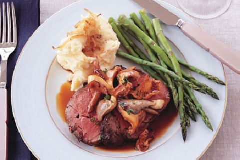 ... beef with wild mushroom sauce and caramelized-shallot mashed potatoes