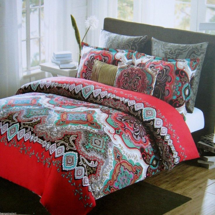 Turquoise blue red gray black moroccan 3pc full queen duvet set