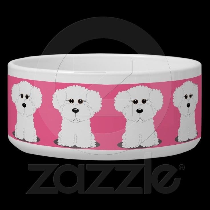 Pink Whimsical Bichon Frise Art Dog Bowl