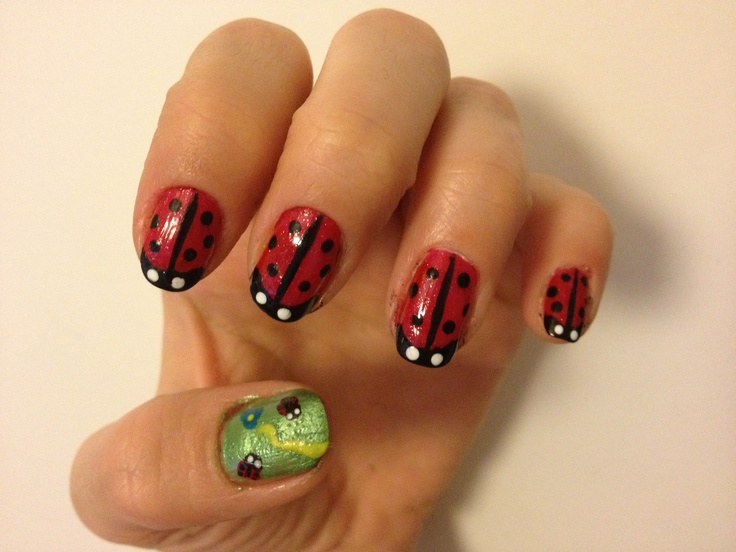 Ladybug nail art (self-made) | Nail art | Pinterest