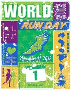 World Run Day was founded to celebrate the sport of running worldwide.  Mission is to broaden and promote the health benefits of running while also encouraging runners to donate to their own favorite charity on this special day.  They support the mission by providing free tools to either individuals or groups who are interested in hosting a World Run Day event in their community.