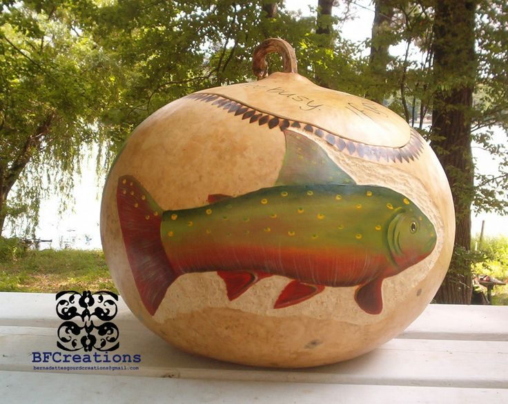 Large painted gourds gourd creations gone fishin in michigan