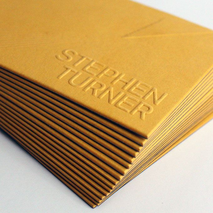Business cards for Stephen Turner private investigator. Printe spec is as follows – Front: Citrine GF Smith 540gsm, Embossed details. Back: Dark grey GF Smith 270gsm, White foil