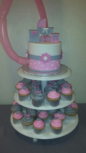 pink and gray baby shower cake miss adilee 39 s shower pinterest