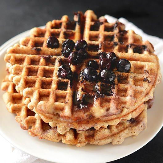 Vegan Gluten Free Lemon Blueberry Waffles   Minimalist Baker Recipes
