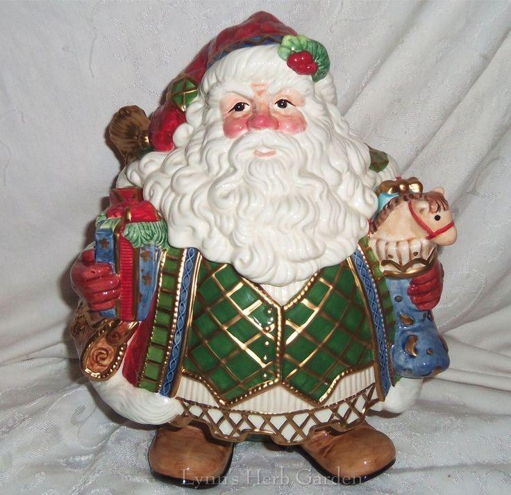 Fitz & Floyd Santa Cookie Jar Large Jolly Old St Nick Handpainted Cer ...