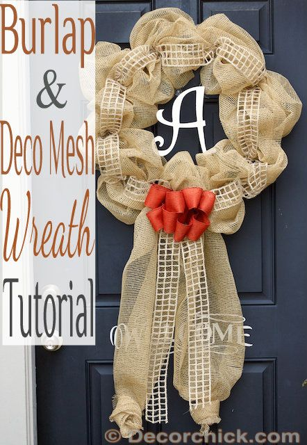 Burlap & Deco Mesh Wreath Tutorial | www.decorchick.com