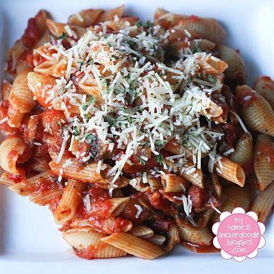 Pasta with Bacon, Mushroom Tomato Sauce | Recipes to try - Pasta | Pi ...