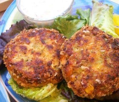 Salmon Patties/Burgers With a Yogurt Herb Sauce. Photo by KiwiHil