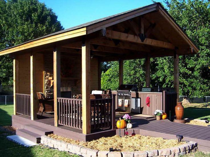 Backyard pavillion designs 3 home sweet home pinterest for Outdoor kitchen pavilion designs