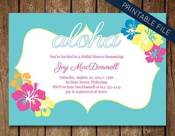 Hawaiian Theme Bridal Shower Invitation, Printable Bridal Shower ...
