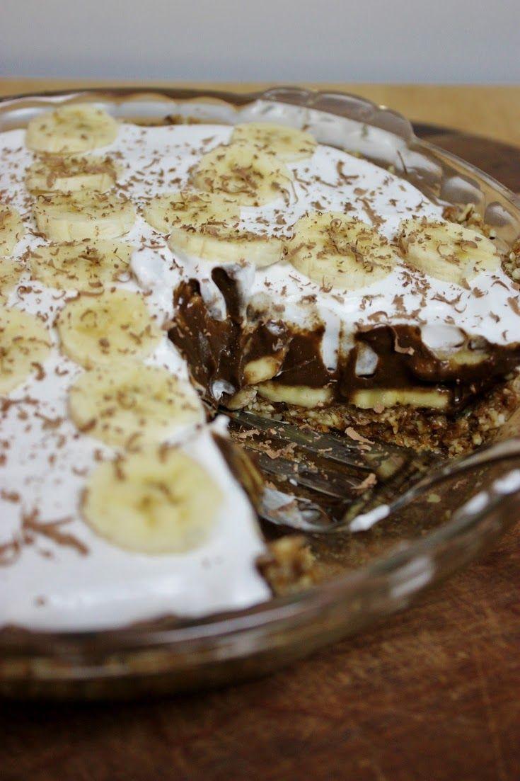 vegan chocolate banana coconut cream pie- or just chocolate pie ...