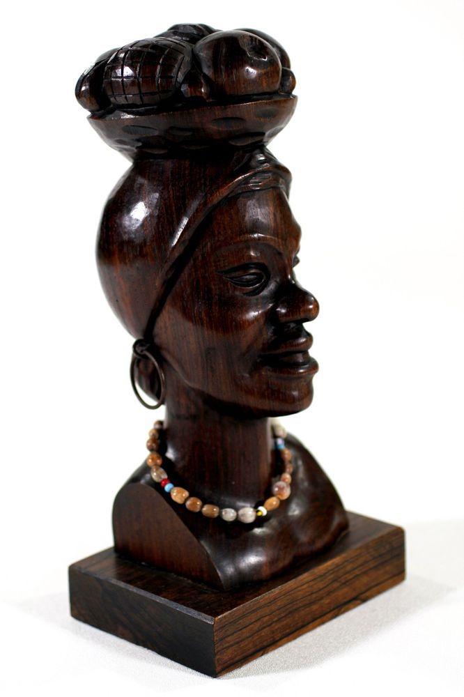 Jacaranda dark wood carving sculpture woman bust with