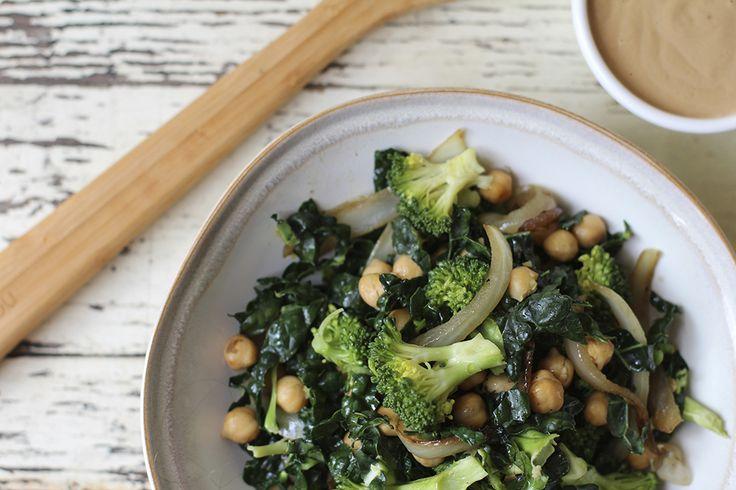 Toasted Chickpea & Broccoli Salad with Garlic Tahini Dressing ...