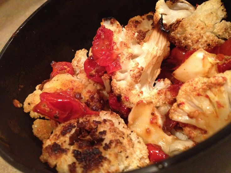 Roasted cauliflower and grape tomatoes | Food | Pinterest