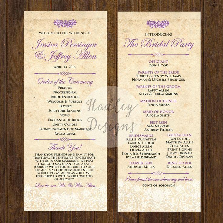 Wedding Program Ideas   Wedding Design Ideas