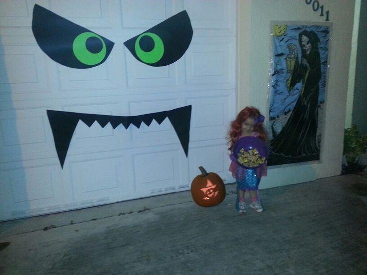 Our diy boogie monster halloween decoration on our garage door my creations - Deco salle halloween ...