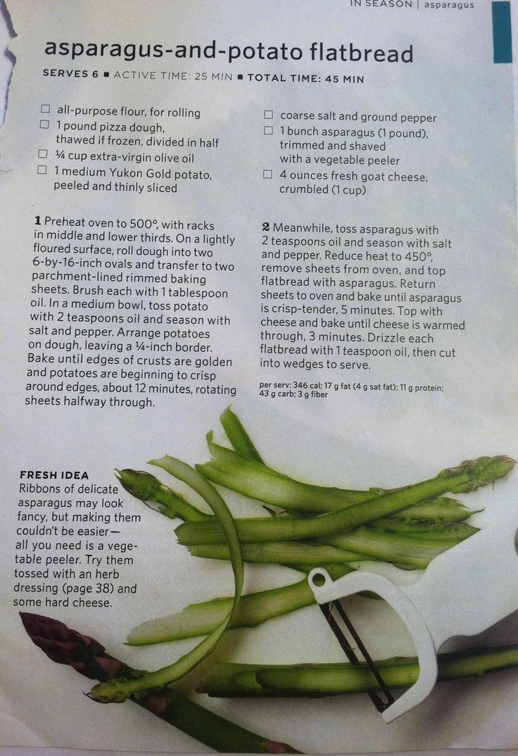Asparagus and potato flatbread | Magazine Recipes | Pinterest