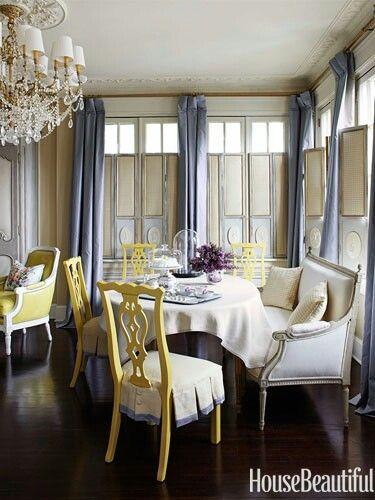 Slate Blue Yellow Dining Room Interior Design Pinterest