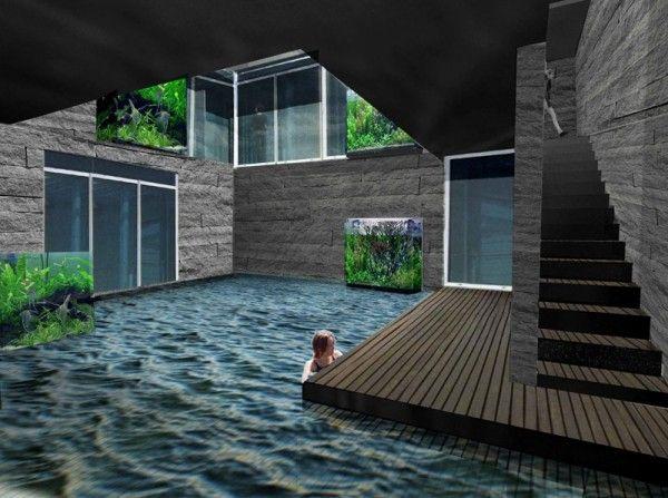 underground house with pool