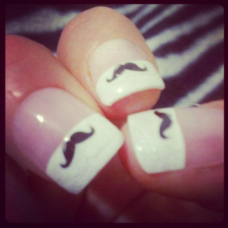 Classic Mustache Nails art design | Nail Art Designs | Pinterest