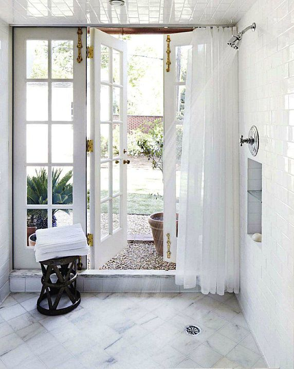 Mmmm indoor outdoor shower bathing beauty pinterest for Indoor outdoor french doors