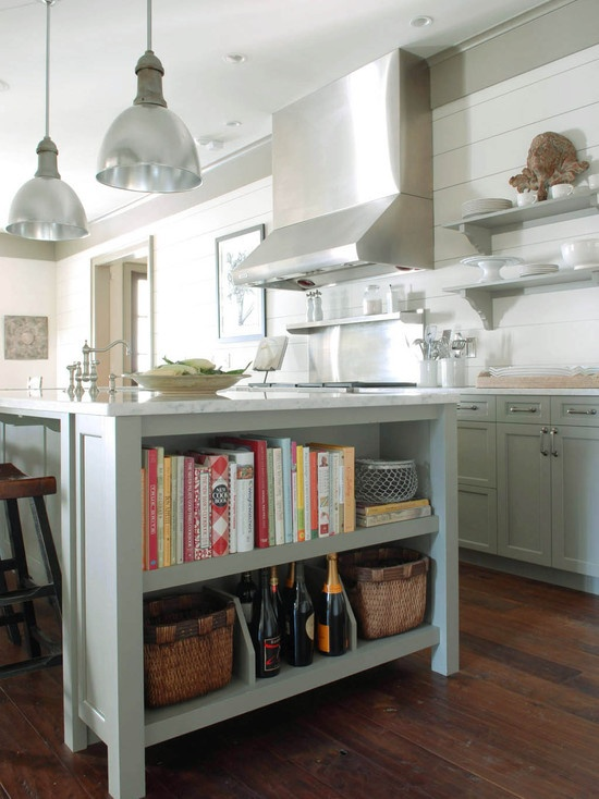 Traditional kitchen gray kitchen islands pinterest for Traditional kitchen shelves
