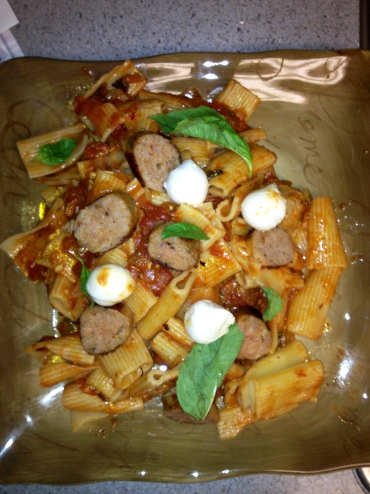 Rigatoni, chunky tomatoes, garlic, onions, spicy red pepper sauce, red ...