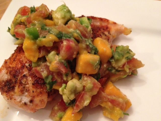 Chipotle Chicken with Mango & Avocado Salsa  Chipotle Chicken: Nutrition per breast (Perdue Perfect Portions) Weight Watchers Points + 3 ~ Calories 140 ~ Fat 1.5g ~ Carbs 0g ~ Fiber 0g ~ Protein 29g ******  Mango Avocado Salsa:  1/2 cup each. Nutrition per serving: Weight Watchers Points + 4 ~ Calories 134.3 ~ Fat 9.0 g ~ Saturated Fat 1.3 g ~ Carbs 14.2 g ~ Fiber 4.9 g ~ Protein 1.6 g