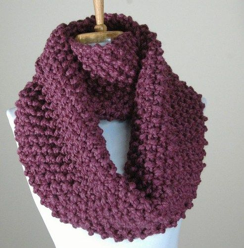 Chunky Hand Knit Infinity Scarf in Purple Fig Textured Pattern Origina
