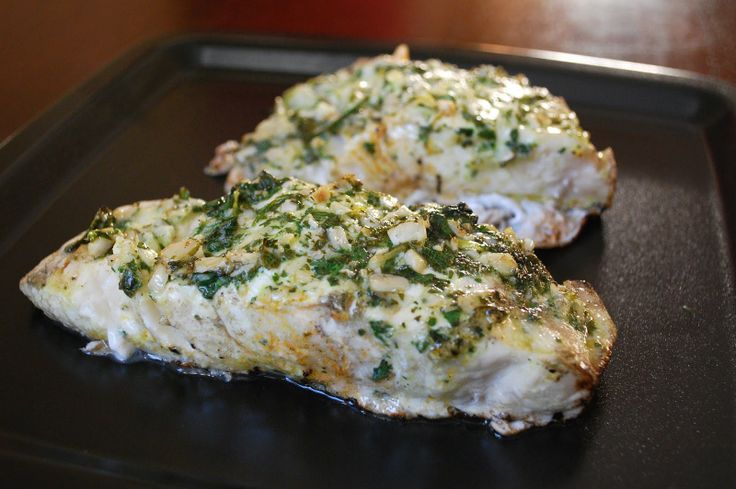 Grilled Halibut with Herbs - 2 halibut filets (about 12 oz.), juice of ...