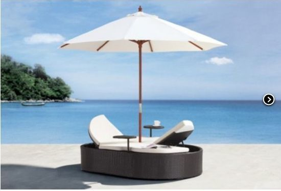Outdoor pool patio 2 tone bed set sofa lounge chair for Outdoor pool bed