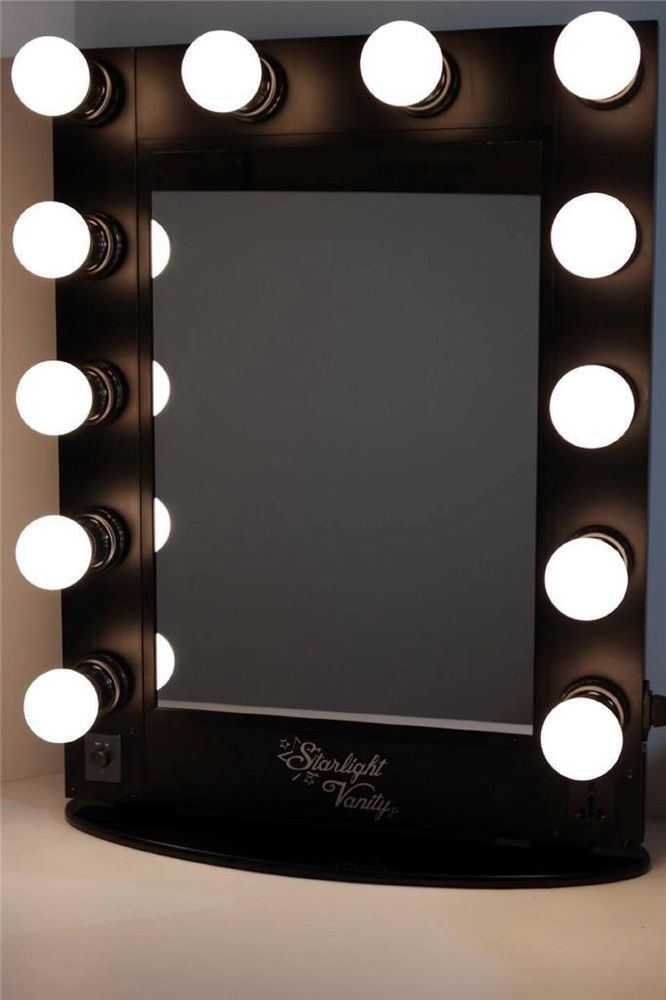starlight hollywood lighted vanity makeup mirror table top w dimmer. Black Bedroom Furniture Sets. Home Design Ideas