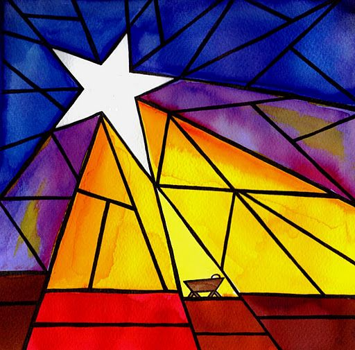 Stained glass art ~ I love this simple manger scene