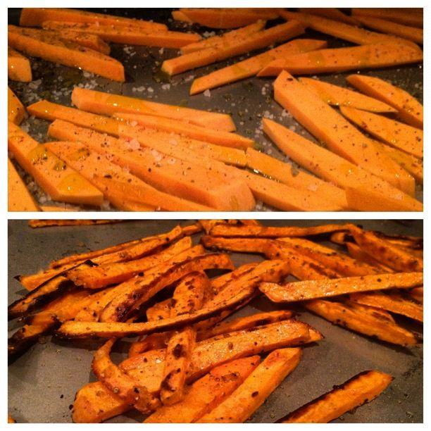 oven-baked sweet potato fries | sea salt, pepper & olive oil