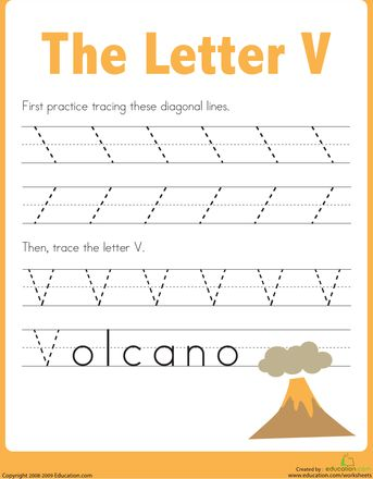 Worksheets: Practice Tracing the Letter V