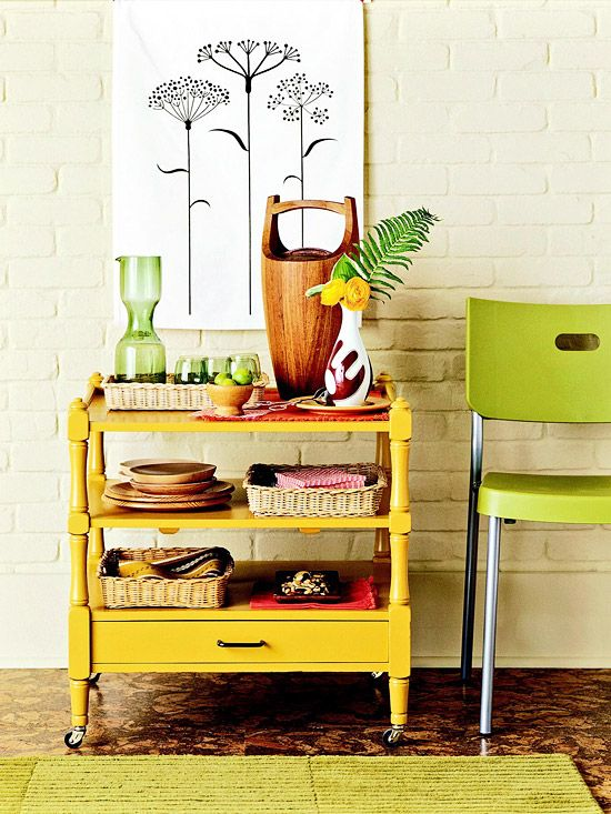 Night table repurposed into rolling kitchen cart.
