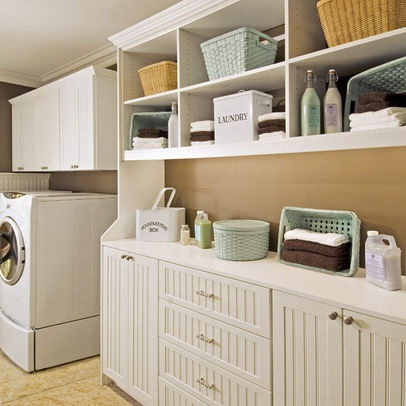 Pin by mrs d on laundry rooms pinterest for Open shelving laundry room