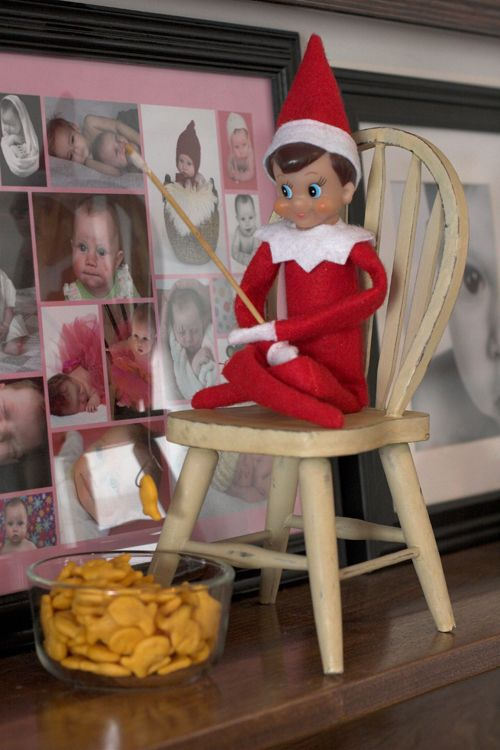 elf on the shelf goes fishing christmas pinterest