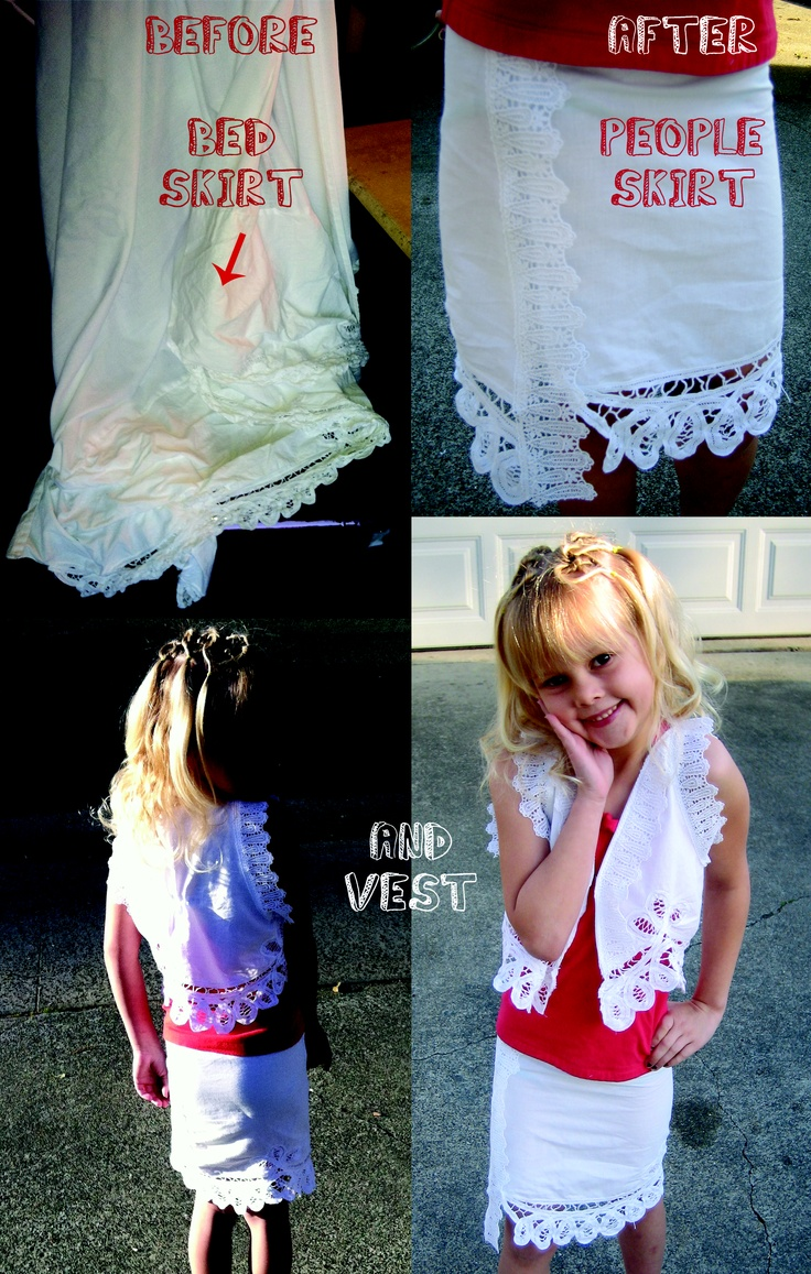 Upcycle  Bed Skirt = People Skirt and Vest